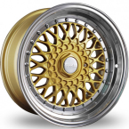 "Dare RS Gold Polished - Chrome Rivets Gold Polished / Chrome Rivets 15""(D15804100-108GPDRS15-Dare-15-4x100-15-8)"