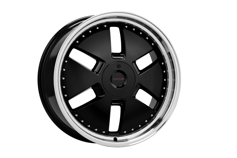 Axxion Y1 Glossy black with full machined lip 20""