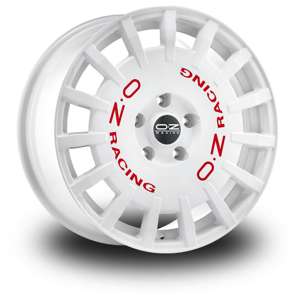 OZ Rally Racing White WHITE RED LETTERING 17""